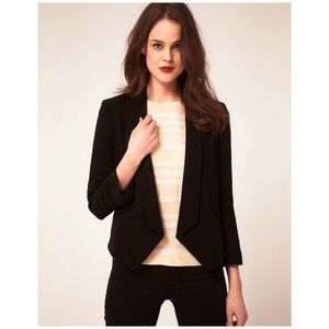 {Whistles} Nelly Crepe Jacket Blazer Cropped Black